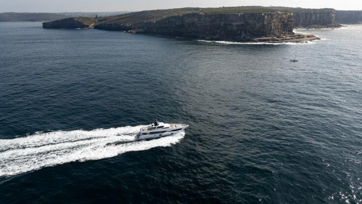Superyachts Australia - Superyacht under power - Aerial view