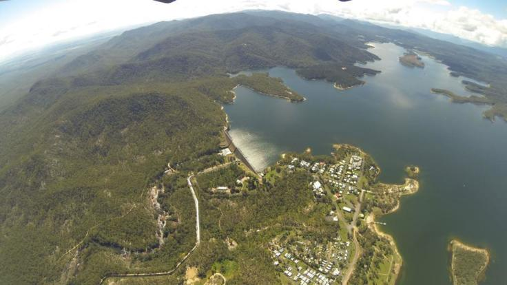 Lake Tinaroo on the Atherton tablelands from the air