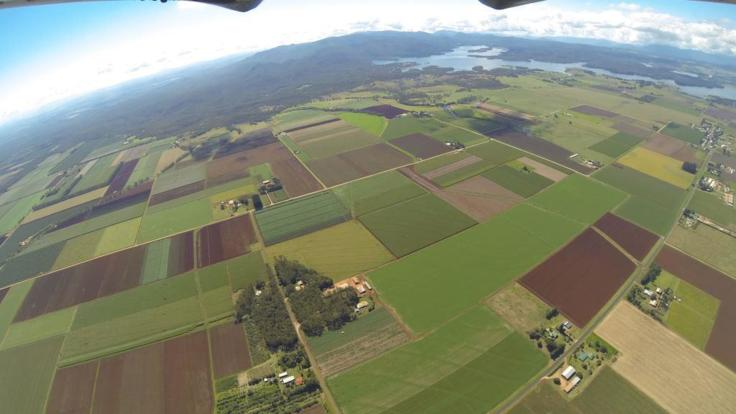 Aerial view of Atherton Tablelands behind Cairns