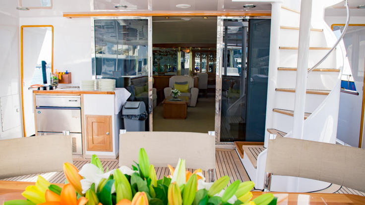 Private Charter Super Yacht - Aft Deck for dining and relaxation - Great Barrier Reef - Australia