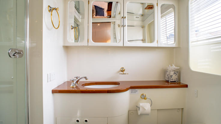 VIP Stateroom Bathroom - Luxury Super Yacht Charter Great Barrier Reef Australia