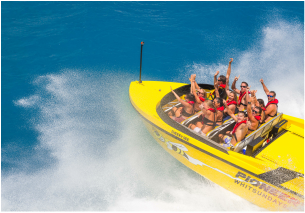 Thrills on board the fast boat from Airlie Beach