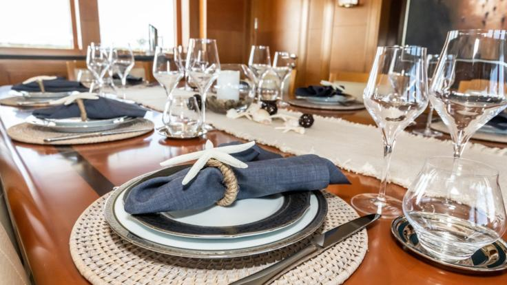 Luxury dining set on Airlie Beach superyacht