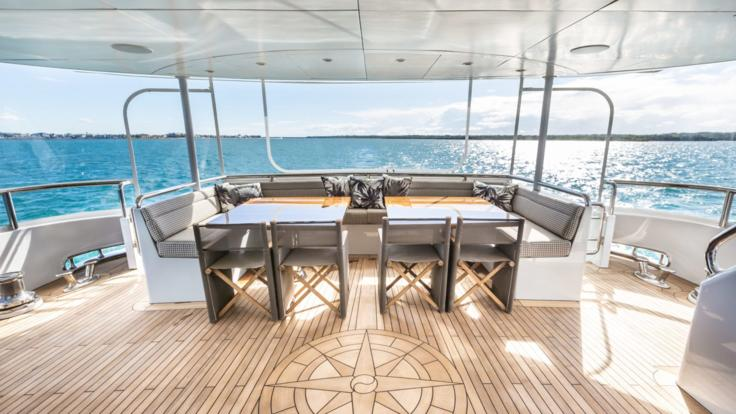 Outdoor setting on luxury superyacht on the Great Barrier Reef.