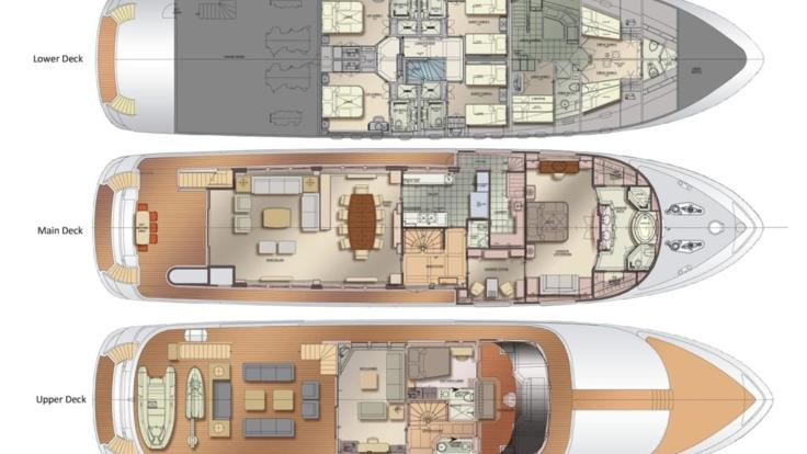 Luxury superyacht floor Plan.
