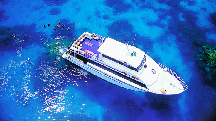 Aerial view of the liveaboard dive boat on the Great Barrier Reef