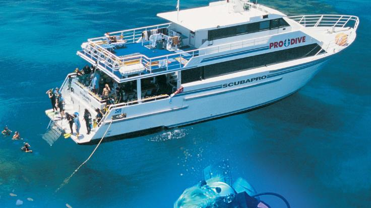 Our liveaboard dive boat at anchor on the Great Barrier Reef