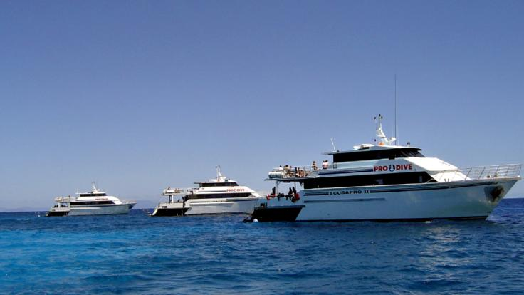 Our 3 Liveaboard Dive Boats afloat on the Great Barrier Reef in Australia