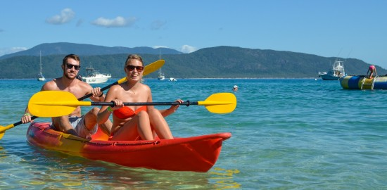 Sea kayaking on the Great Barrier Reef in Australia