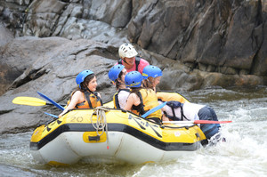Small groups in each raft, Barron River white water rafting