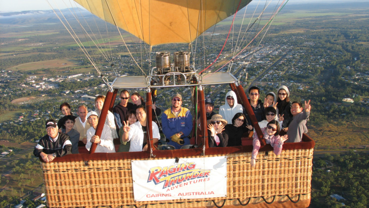 Multi-compartment baskets comfortably fly up to 20 guests in hot air balloon, Cairns