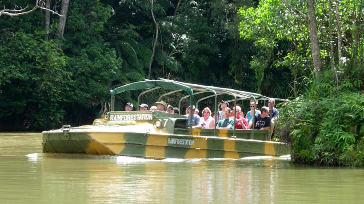 Amphibious army duck tour through the Kuranda rainforest.
