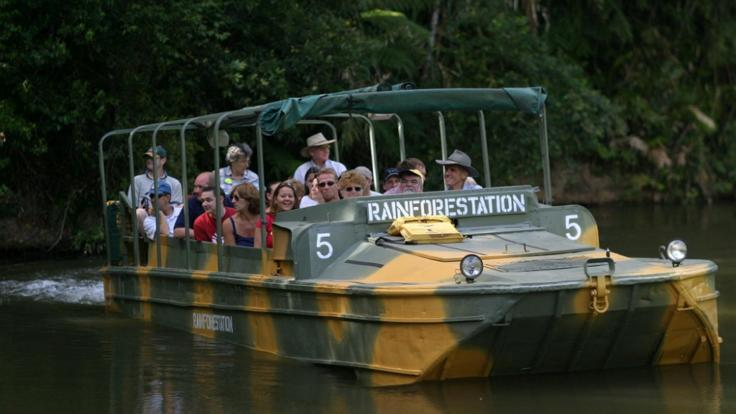 Guided informative tours of the rainforest in the WWII army duck