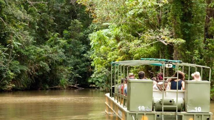 Unique Amphibious army duck tour in the Kuranda rainforest