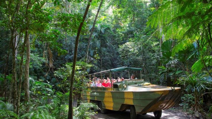 Army duck tour through the Kuranda rainforest