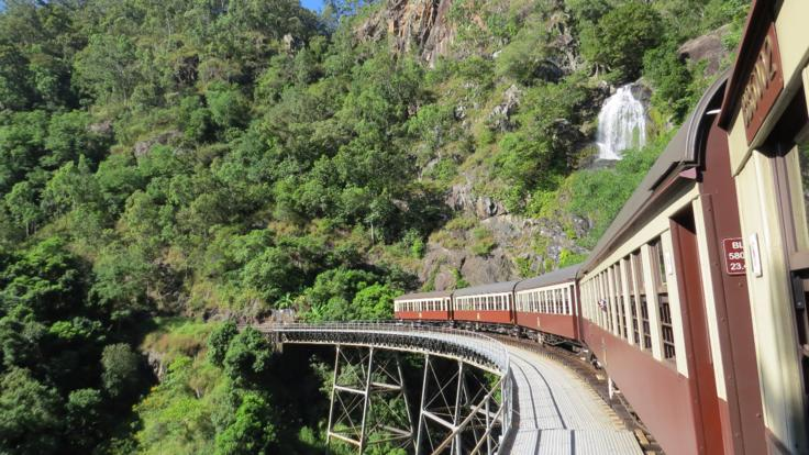 Travel past stunning scenery on the Kuranda Train and Scenic Rail