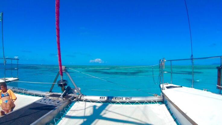 Charter Yachts Cairns - Guests Can Relax on Trampoline on the Bow