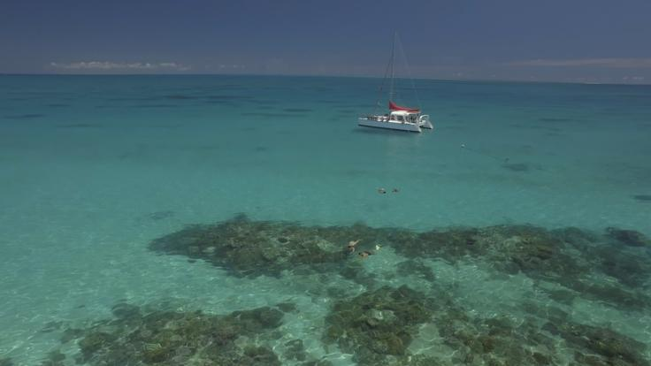 Barrier Reef Australia: Catamaran at anchor on the Great Barrier Reef off Cairns