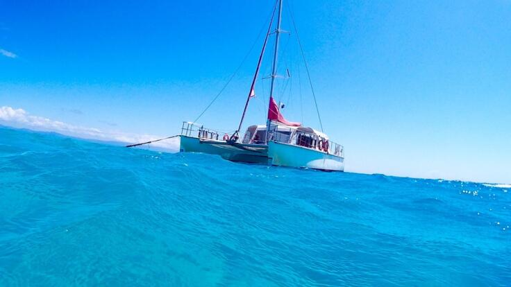 Cairns Snorkel Tours - Yacht at Anchor on the Great Barrier Reef