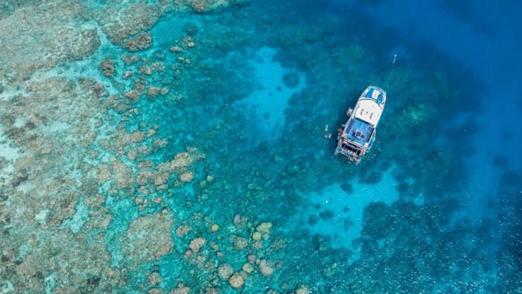 Cairns Reef Trip - Dive & Snorkel Tours - Aerial Views of Boat