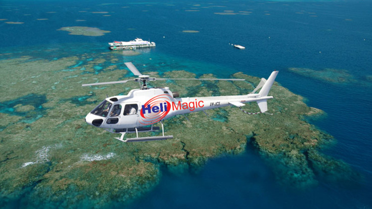 Scenic helicopter flight over the Great Barrier Reef in Australia
