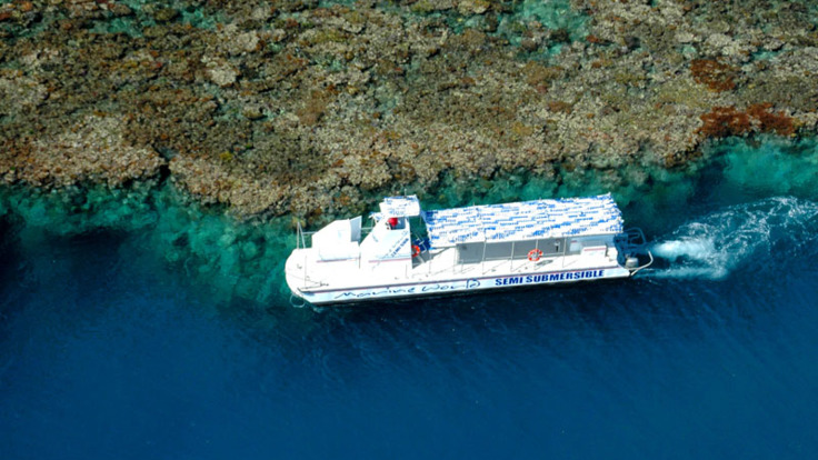 Aerial view of semi-submersible submarine tour on the Great Barrier Reef in Australia