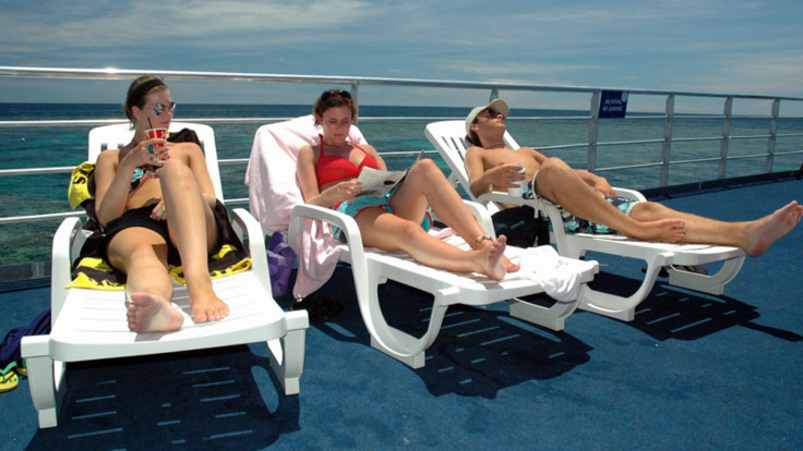 Sun loungers on pontoon deck - Great Barrier Reef Australia
