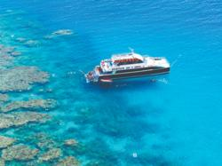 Aerial view of our boat on the Great Barrier Reef off Cairns, Australia