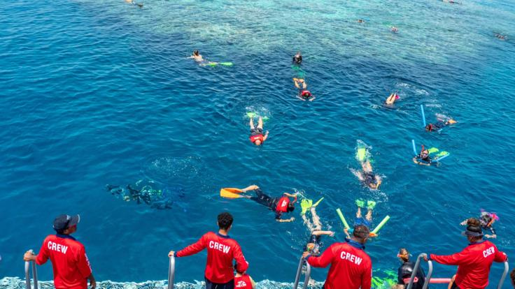On board life guards keep a watch on snorkellers in the water on the Great Barrier Reef tours