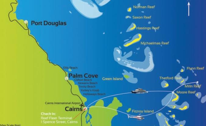 Chart of our Great Barrier Reef tour from Cairns, Australia