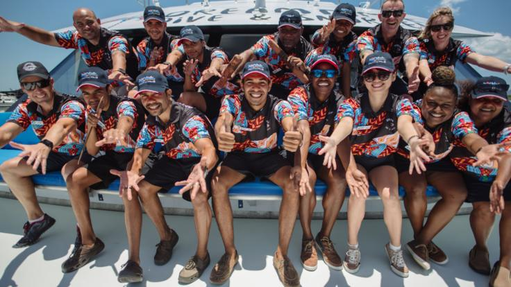 Our boat crew having some fun on the Great Barrier Reef in Cairns