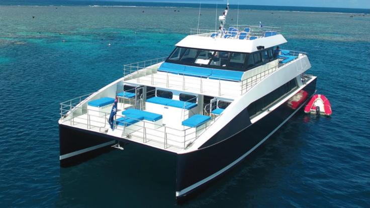 Aerial view of our high speed catamaran that cruises the Great Barrier Reef in Australia