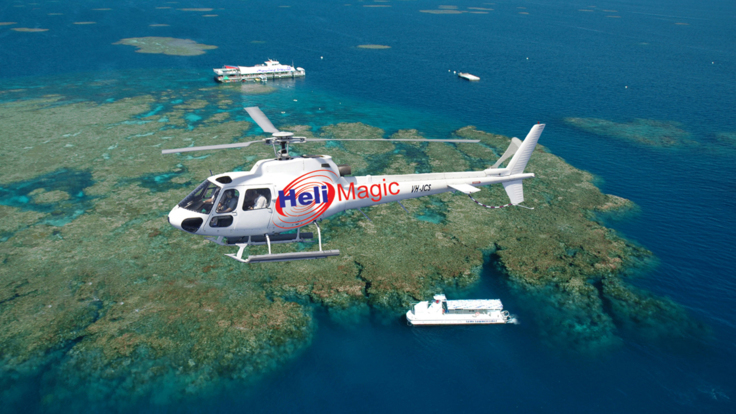Helicopter flight over the Great Barrier Reef and Marine World Cairns