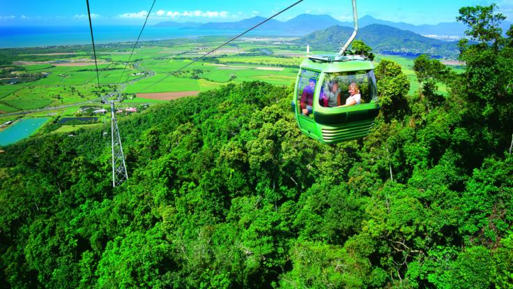 Aerial View of heading down the Kuranda mountain on Skyrail