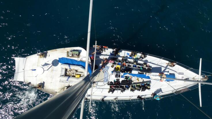 Aerial View of the liveaboard sail boat off Cairns on the Great Barrier Reef