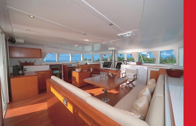 Spacious interior saloon on Low Isles reef trip boat
