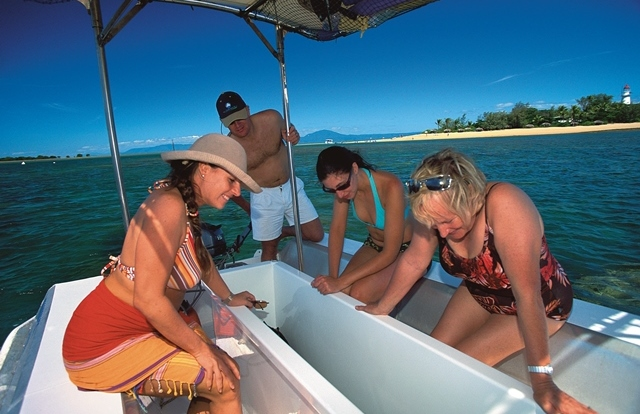 Glass bottom boat tour at Low Isles Port Douglas