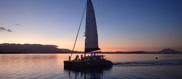 Calm waters Luxury Sunset Cruise departing Port Douglas