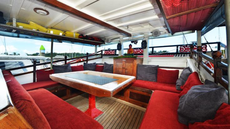 Relax on board in the spacious lounge area.