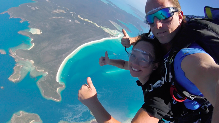 Whitehaven Beach 14,000ft Tandem Skydive Jump over the Great Barrier Reef