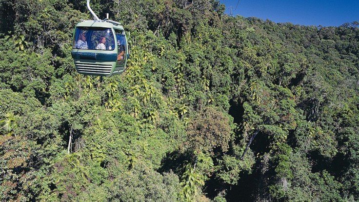Skyrail gondola on the way up the mountain to Kuranda Village