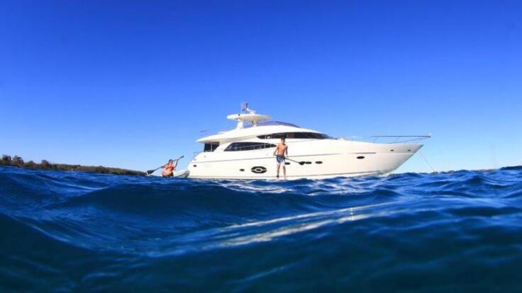 Yacht Charters Great Barrier Reef - Superyacht at Anchor Whitsundays