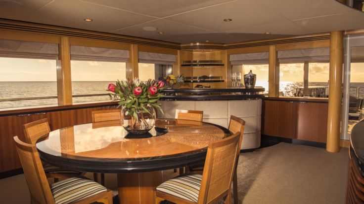 Spacious saloon and dining areas on your luxury super yacht - Cairns