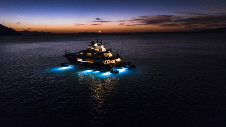 Superyachts Great Barrier Reef - Underway at night on the Great Barrier Reef in Australia
