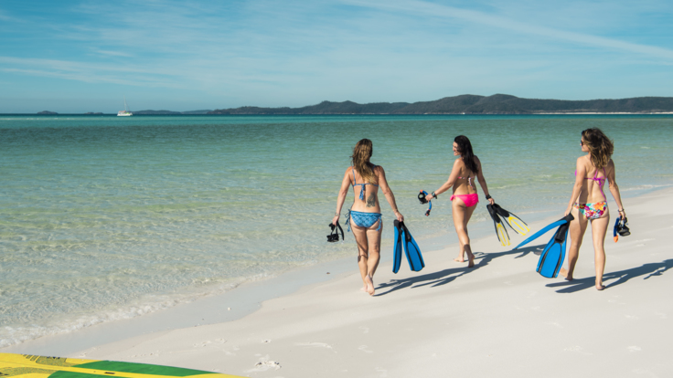Enjoying Whitehaven Beach on the Great Barrier Reef