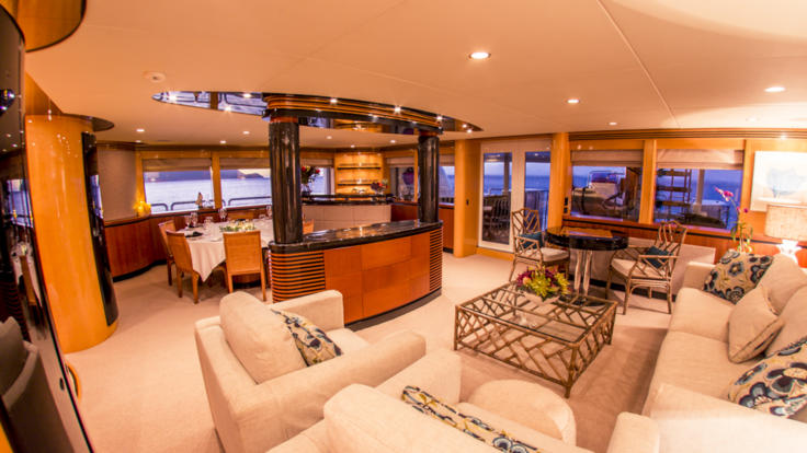 Interior saloon of Superyacht on the Great Barrier Reef in Australia