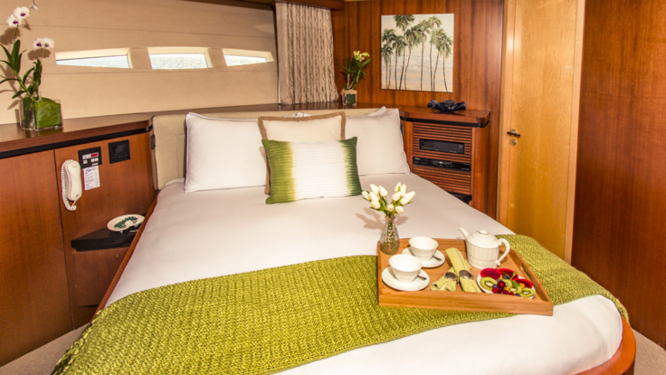 Stunning double cabin bedroom on luxury private superyacht from Cairns