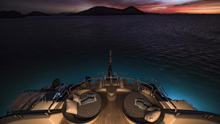 Superyachts Great Barrier Reef - Superyacht Aft deck at sunset on the Great Barrier Reef
