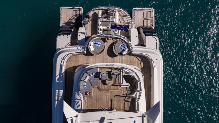 Superyachts Great Barrier Reef - Aerial view of aft deck of Port Douglas Superyacht on the Great Barrier Reef in Australia
