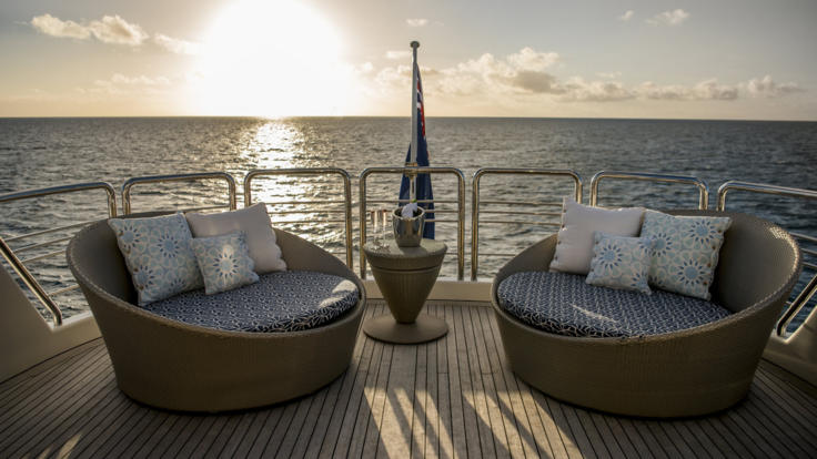 Aft at sunset the perfect spot to relax and enjoy the view on your Superyacht - Great Barrier Reef - Australia